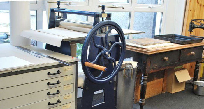 Metal Press printmaking